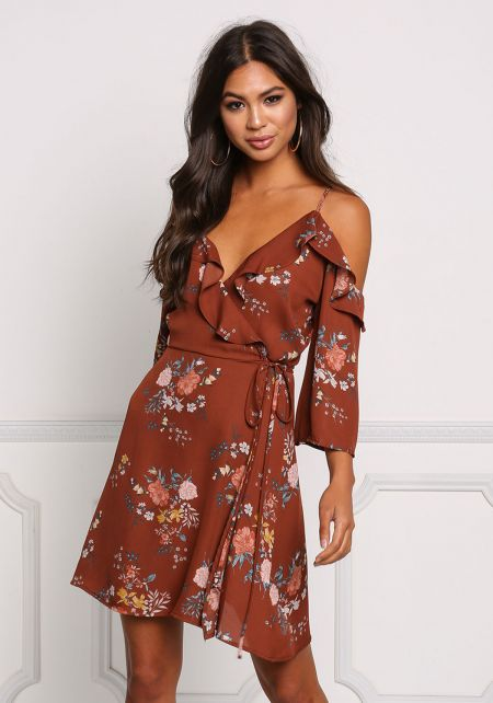 Brick Floral Cold Shoulder Wrap Dress