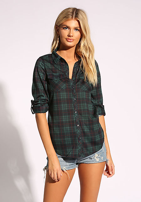 Dark Green Plaid Flannel Shirt