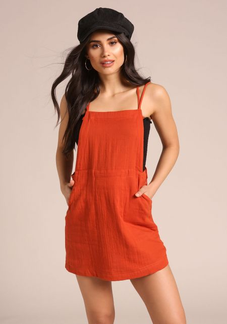 Rust Cross Strap Pocket Overalls Dress