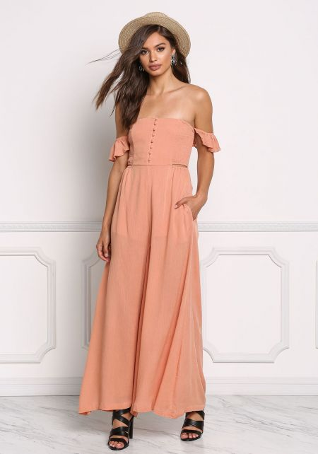 Salmon Crepe Off Shoulder Smocking Jumpsuit