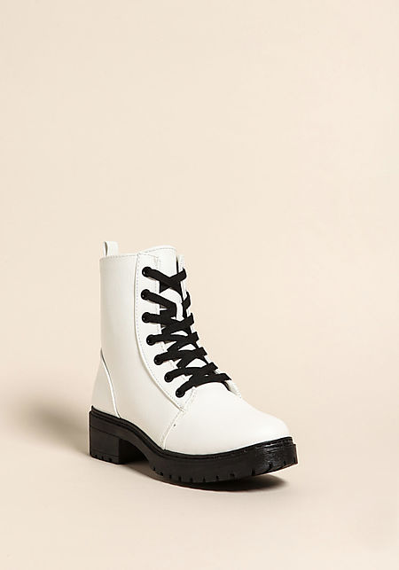 White Leatherette Combat Boots