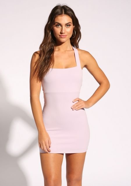 Lavender Back Cross Strap Bodycon Dress