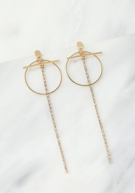 Gold Rhinestone Hoop Drop Chain Earrings