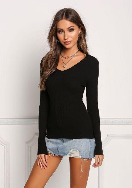 Black Ribbed Knit Long Sleeve Top