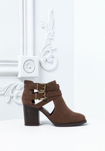 Brown Leatherette Strappy Buckle Ankle Booties