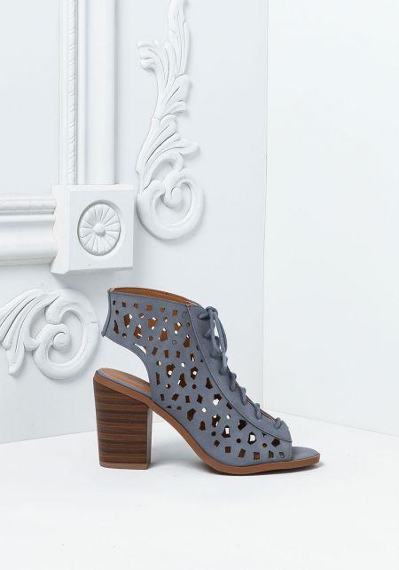 Blue Leatherette Laser Cut Lace Up Heels