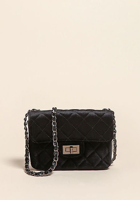 Black Quilted Velvet Crossbody Bag