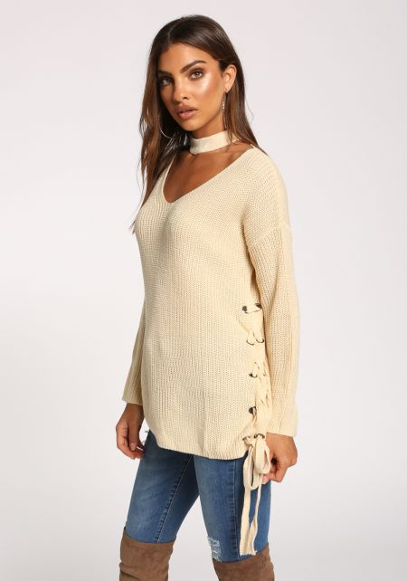Cream Choker Side Lace Up Sweater Top