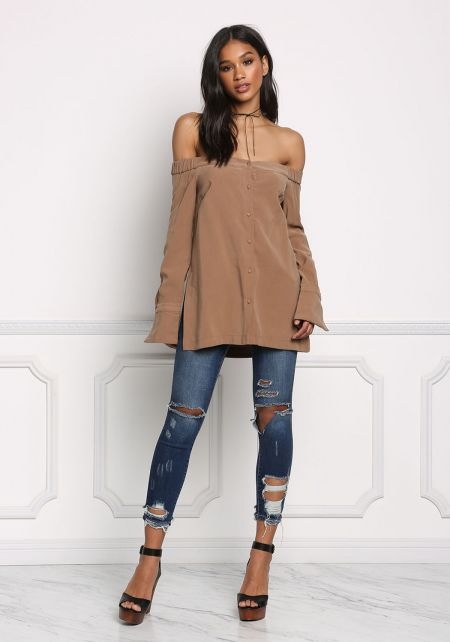 Mocha Button Down Off Shoulder Slit Blouse