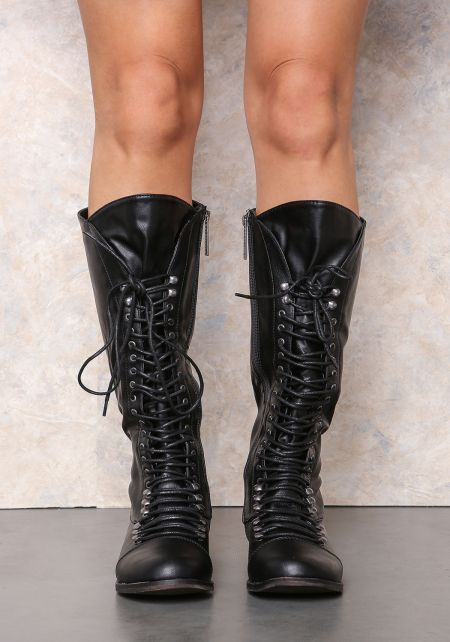 Black Laced Up Knee High Boots
