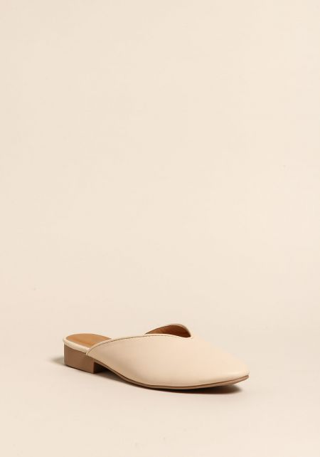 Nude Leatherette Slip On Mule Sandals