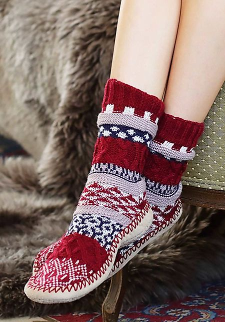 Burgundy Thick Knit Printed Sock Slippers