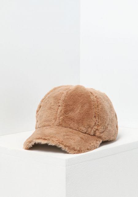 Khaki Soft Faux Fur Baseball Cap