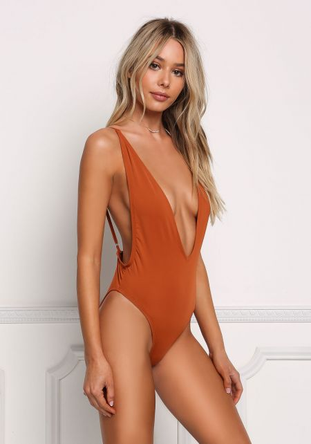 Rust Plunge Side Scoop Swimsuit Monokini