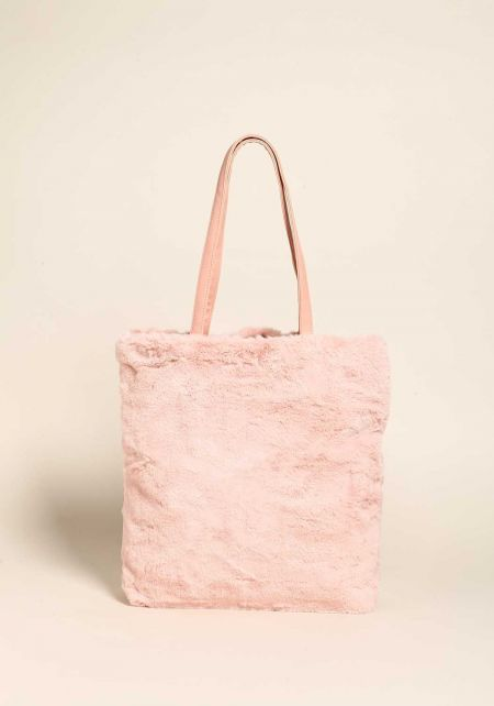 Pink Large Faux Fur Tote Bag