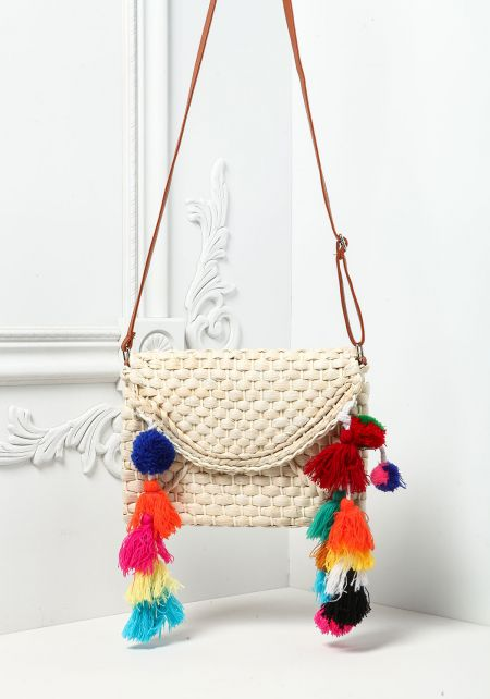 Natural Straw Woven Pom Pom Crossbody Bag