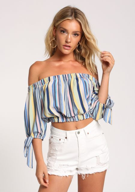 Multi Stripe Off Shoulder Tie Crop Top