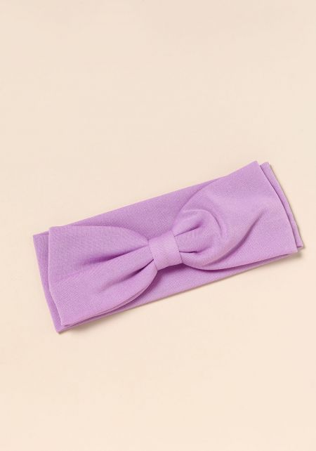 Purple Bow Knit Headband