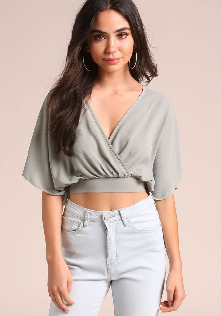 Sage Bell Sleeve Tie Back Crop Top