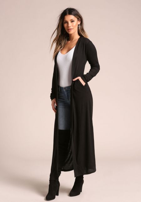 Black Longlined Duster Cardigan