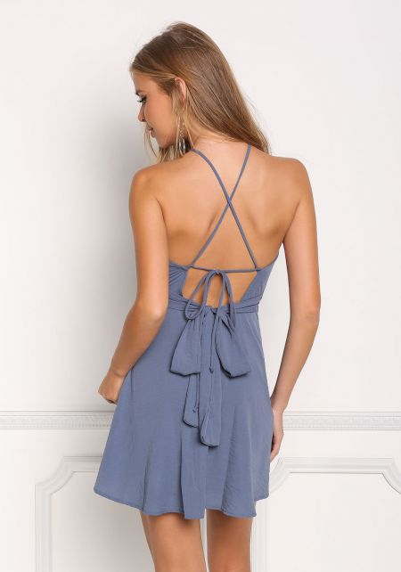 Dusty Blue Cross Strap Cut Out Flared Dress