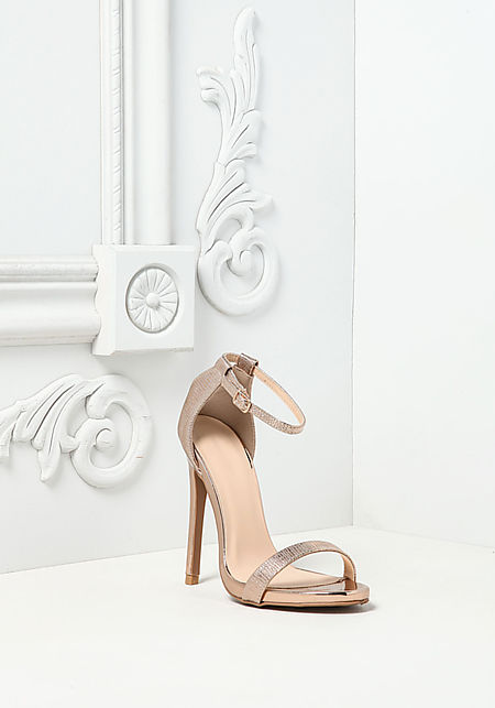 Rose Gold Metallic Ankle Strap Heels