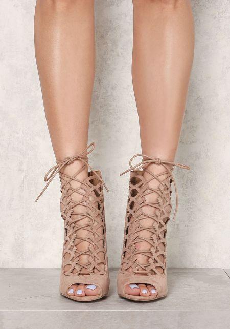 Taupe Suedette Laser Cut Lace Up Heels