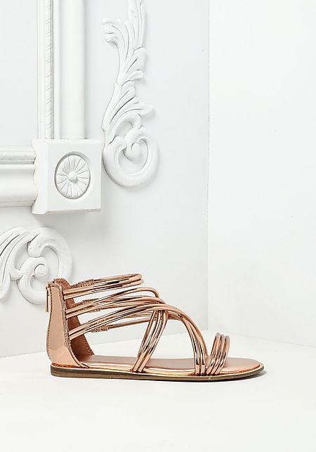 Rose Gold Multi Cross Strap Sandals