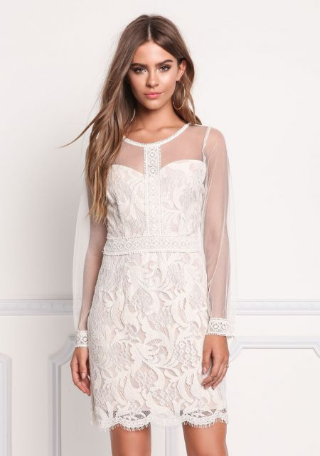Cream Tulle Floral Embroidered Scallop Dress