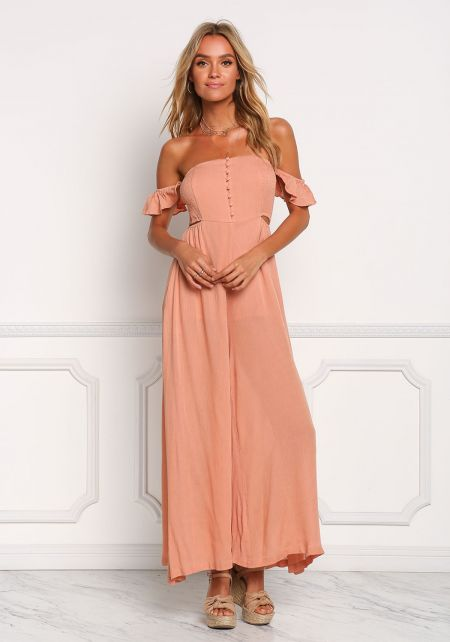 Salmon Crepe Off Shoulder Smocked Jumpsuit