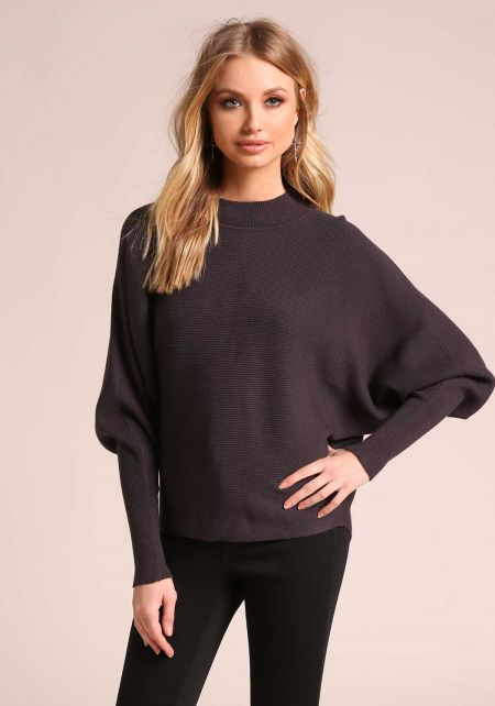 Charcoal Ribbed Knit Dolman Sweater Top