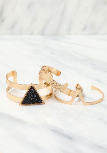 Gold Triangle Stone Cuff Bracelet Set