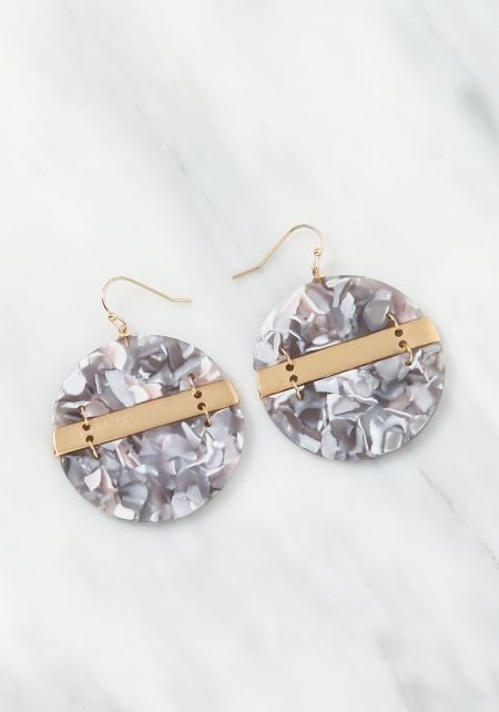 Grey Resin Bar Drop Earrings