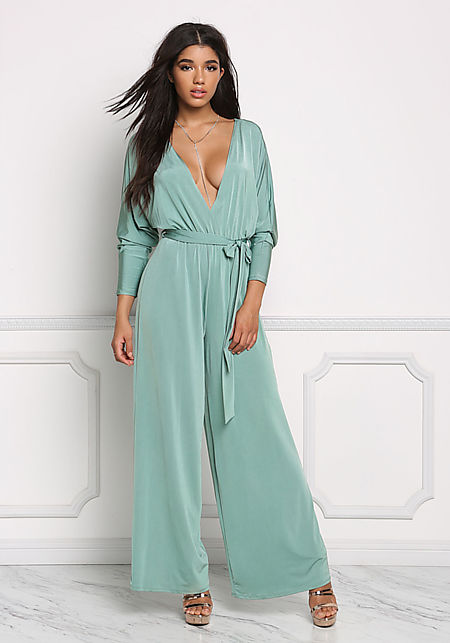 Sage Plunge Wide Legged Jumpsuit