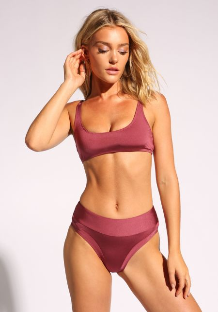 Sangria High Rise Metallic Swimsuit Bikini Bottoms