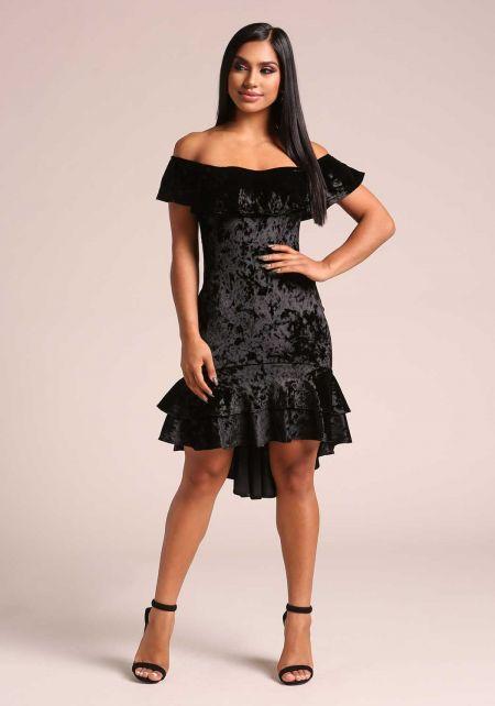 Black Crushed Velvet Ruffle Bodycon Dress