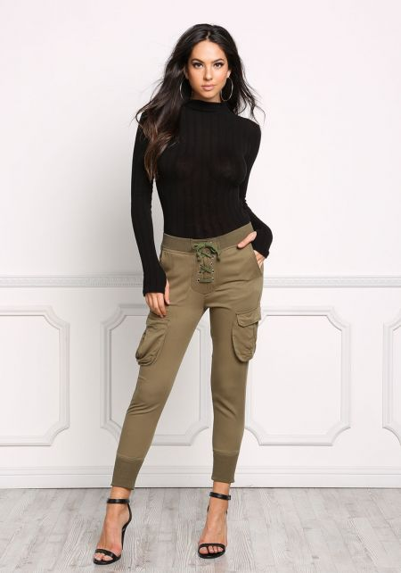 Olive Lace Up Baggy Pocket Pants