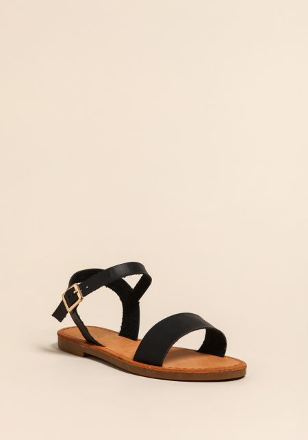 Black Leatherette Strap Sandals