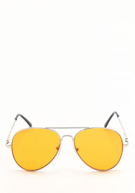 Orange Flat Lens Aviator Sunglasses