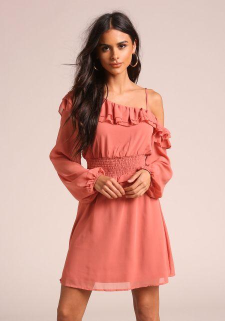 Dusty Rose Smocked Ruffle One Shoulder Dress