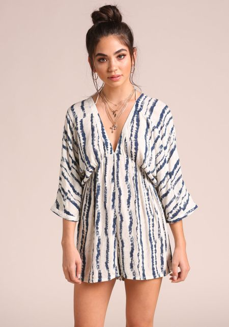 Navy Printed Low V Bell Sleeve Romper