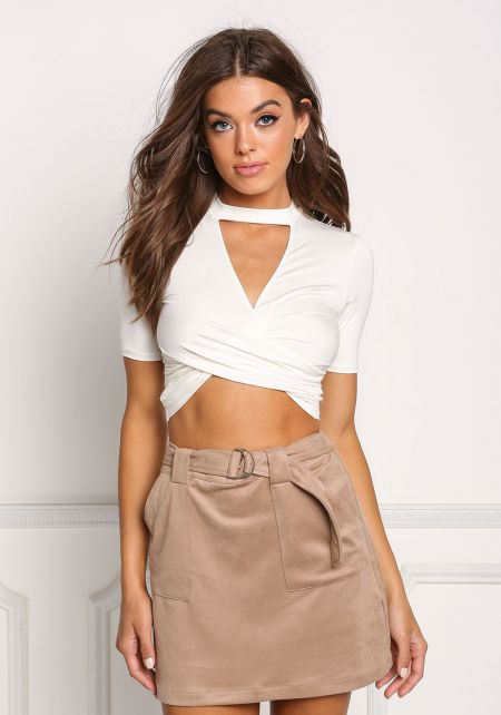 Ivory Cut Out Cross Over Crop Top