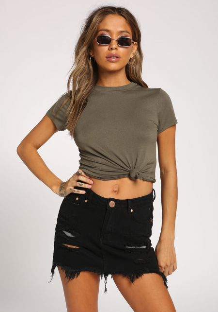Olive Solid Knit Tee