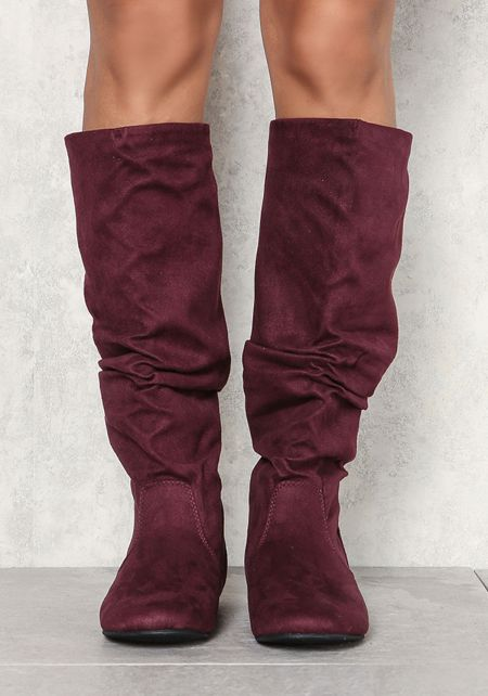 Wine Suedette Ruched Knee High Boots