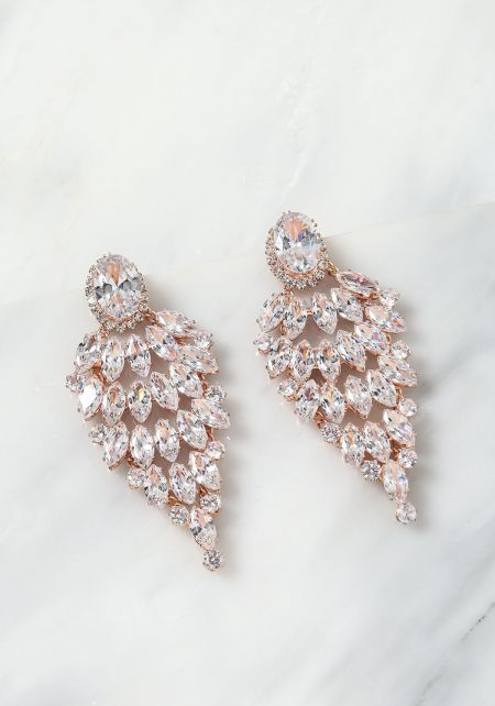 Rose Gold Teardrop Rhinestone Chandelier Earrings