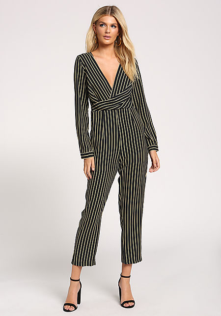 66d2882f67f5 Black Pinstripe Deep V Pocket Jumpsuit ...