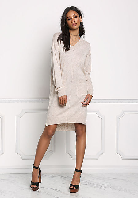 Oatmeal Pocket Soft Knit Dress