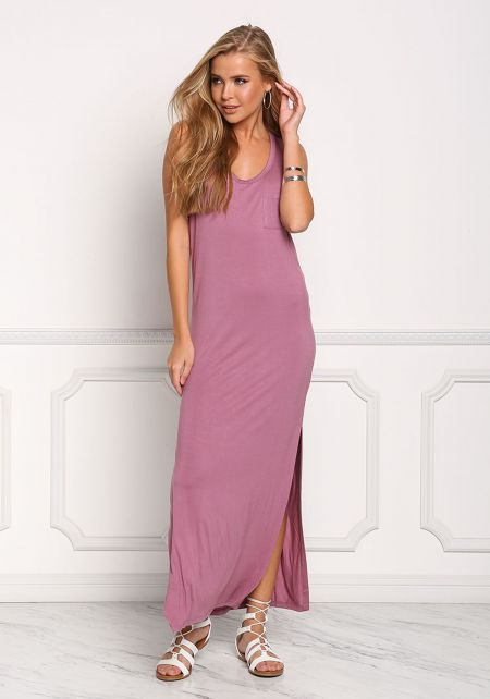 Light Purple Pocket Slit Maxi Dress