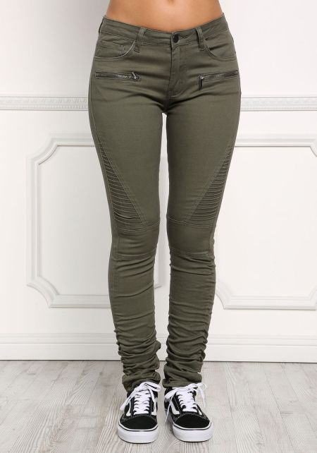 Olive Ruched & Embossed Denim Pants