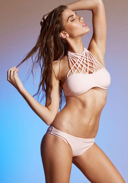 Blush Macrame Halter Bikini Set
